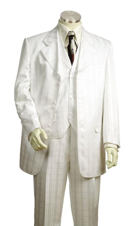 SKU#YG7756 Mens Fashionable 3 Piece White Zoot Suit $250