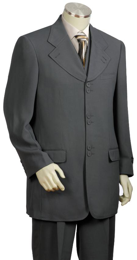 SKU#UB6634 Mens Stylish 3 Piece Vested Zoot Suit Grey