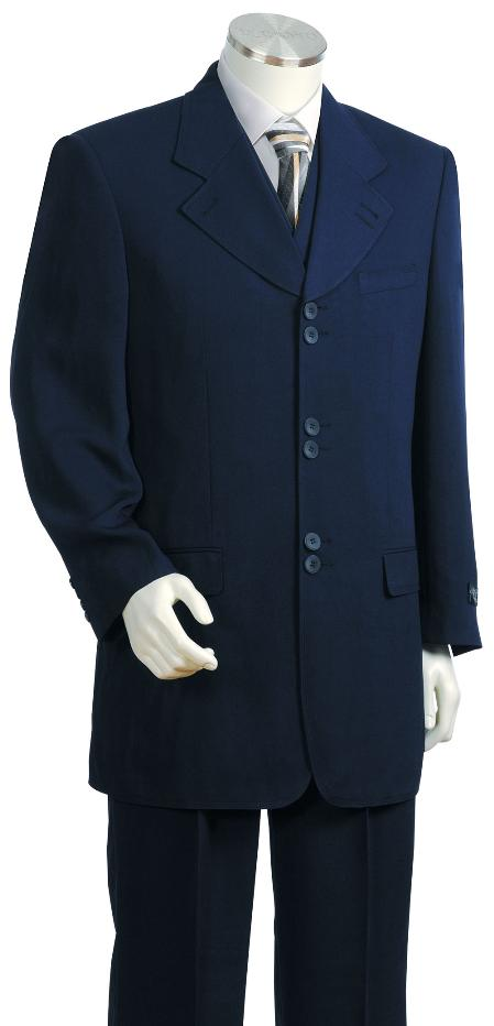 SKU#HY3472 Mens 3 Piece Fashion Navy Zoot Suit