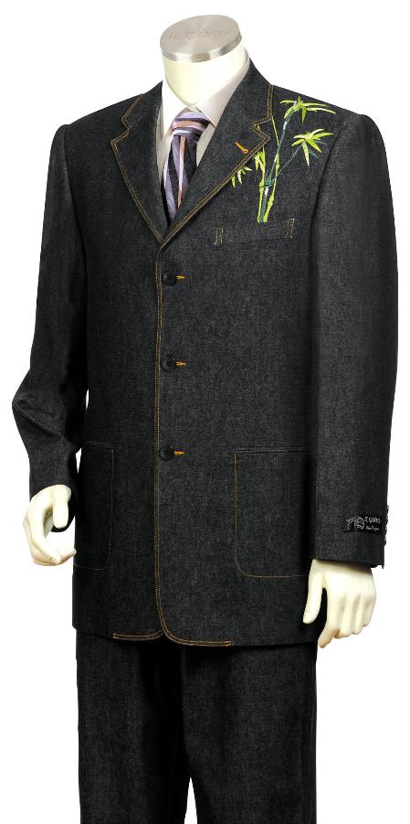 SKU#LF2170 Mens Stylish Black Front Zoot Suit $175