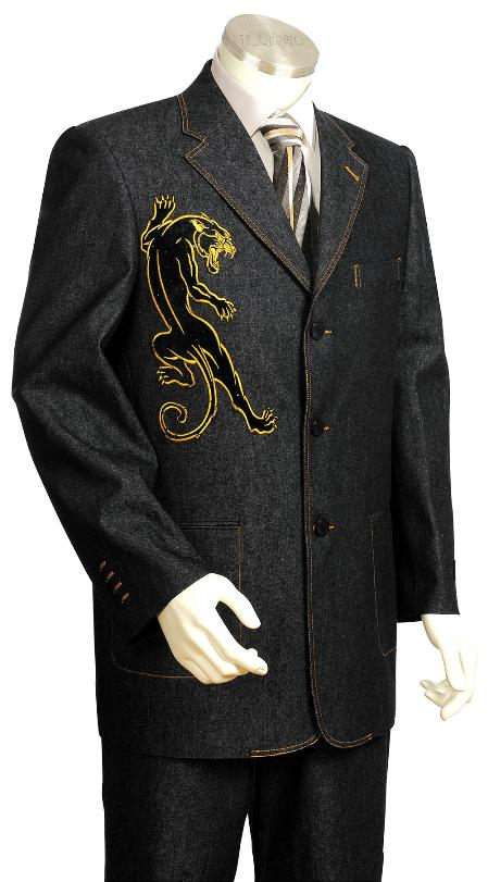 SKU#PR7520 Mens High Fashionable Blue Front Zoot Suit $175