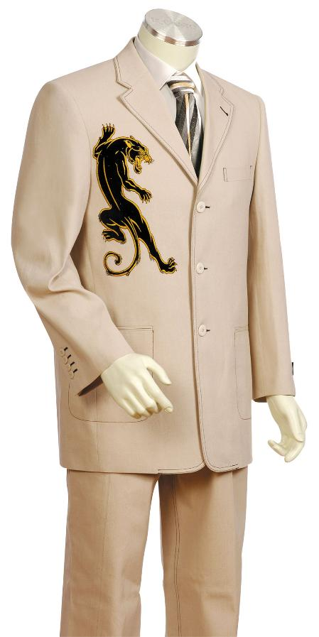 SKU#YC7700 Mens 3 Button Taupe Front Fashion Zoot Suit $175