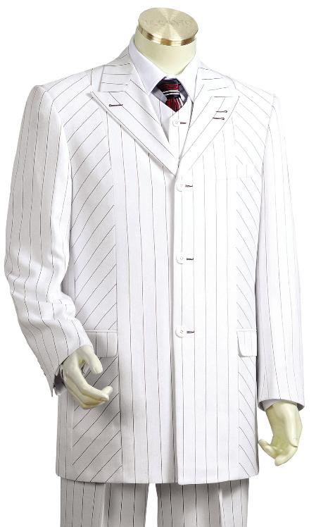 SKU#LS2003 Mens Black Pinstripe 3 Piece Vested White Zoot Suit $175