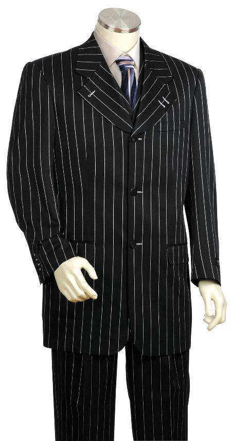 SKU#LV8100 Bold Gangester Mens 3 Piece Vested White Pinstripe Black Zoot Suit $189