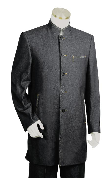 SKU#JG8921 Mens Fashionable 5 Button Black Zoot Denim Fabric Suit