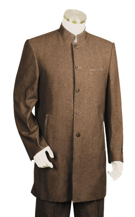 SKU#RF9022 Mens Stylish 5 Button Fashion Brown Zoot Denim Fabric Suit $225