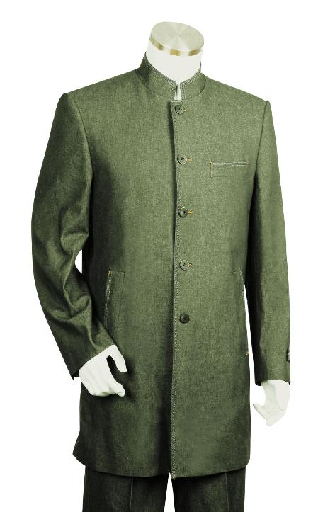 SKU#TH3478 Mens 5 Button Fashionable Olive Zoot Denim Fabric Suit $175