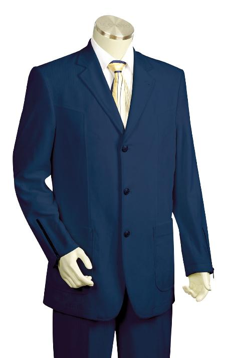 SKU#KX5628 Mens Luxurious 3 Button Navy Zoot Denim Fabric Suit