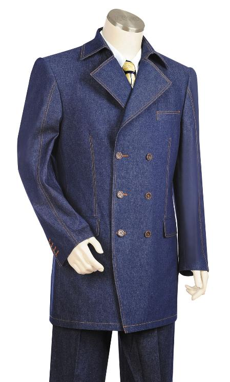 SKU#UC7702 Mens Stylish 3 Button Blue Zoot Denim Fabric Suit $225