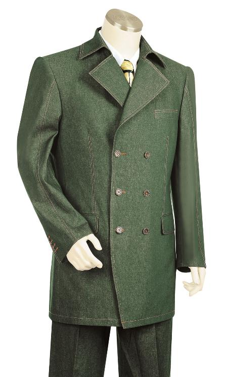 SKU#NR8923 Mens High Fashion Olive Zoot Denim Fabric Suit $225