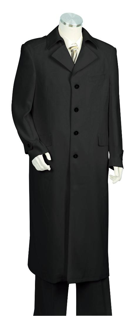 SKU#HT5620 Mens 4 Button Solid Black Long Zoot Suit 45
