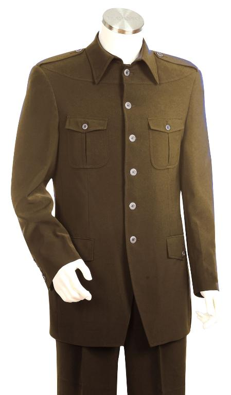Men's Vintage Style Suits, Classic Suits 6 Button Brown Zoot Suit Mens $170.00 AT vintagedancer.com
