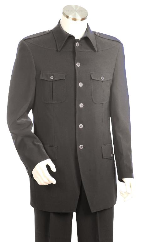 SKU#NV7834 Mens High Fashion Grey SAFARI Long Sleeve ( military style ) Suit $225
