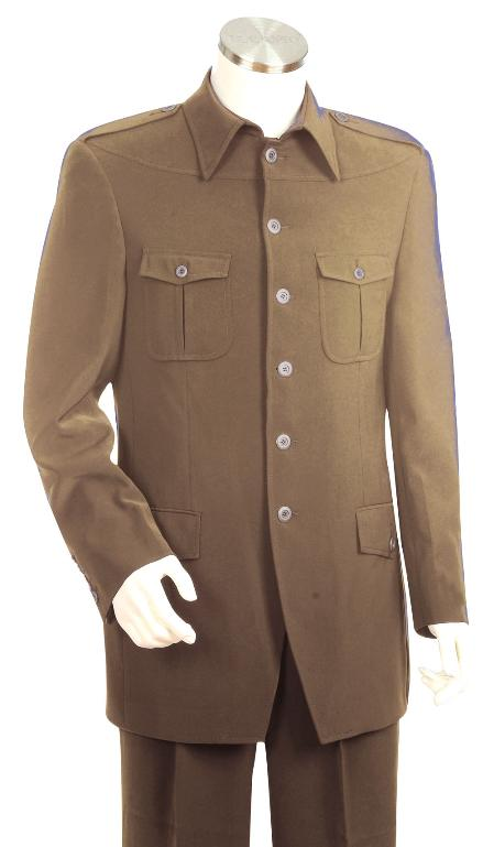 SKU#KV6736 Mens High Fashion Khaki  SAFARI Long Sleeve ( military style ) Suit $175