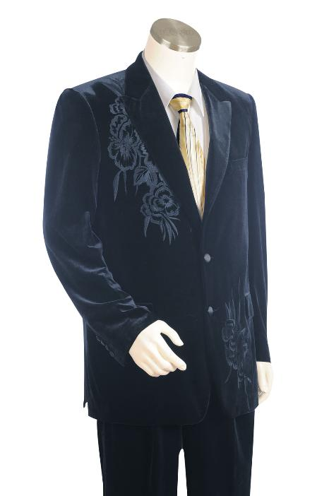 SKU#NG7821 Mens Stylish 2 Button Navy Zoot Suit
