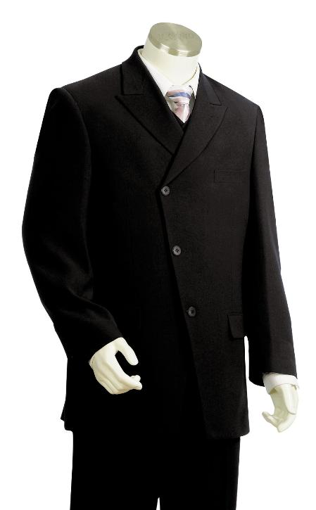 SKU#YH5629 Mens High Fashion 3 Button Black Zoot Suit $225