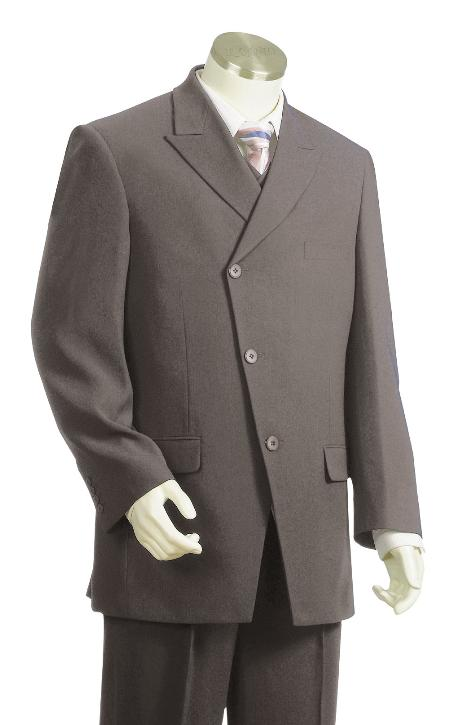 SKU#JR7612 Mens Luxurious 3 Button Grey Zoot Suit