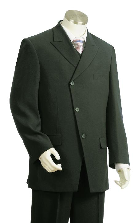 SKU#TK8726 Mens Stylish 3 Button Olive Zoot Suit $175