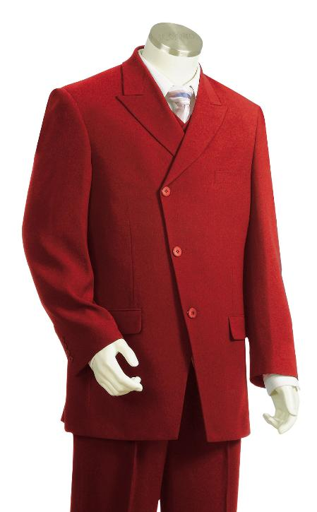 SKU#BY7261 Mens 3 Piece Vested Red Zoot Suit $225