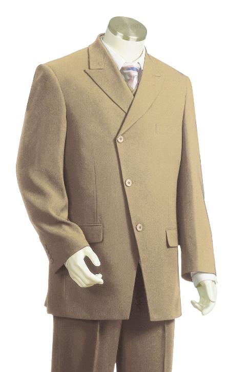 SKU#PY2004 Mens Luxurious 3 Piece Vested Taupe Zoot Suit $175
