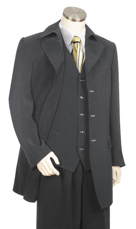 SKU#MK6566 Mens Luxurious 3 Piece Vested Grey Zoot Suit $175