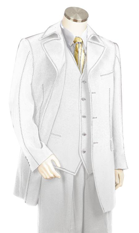 SKU#KT8720 Mens High Fashion 3 Piece Off White Zoot Suit $175