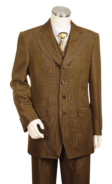 SKU#HQ6527 Mens 3 Piece Vested Brown Unique Exclusive Fashion Suit