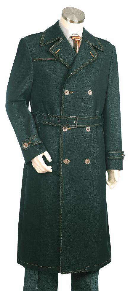 SKU#HG7821 Mens Stylish Bold Pronounce Olive Long Zoot Suit $175