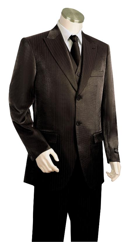 SKU#JV9210 Mens 2 Button 3 Piece Vested Black Zoot Suit