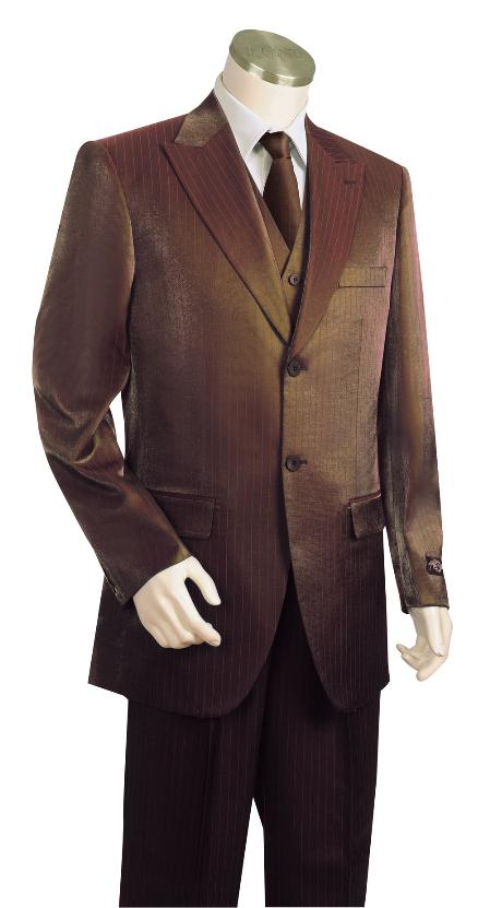 SKU#LS8123 Mens 3 Piece Vested Brown Zoot Suit $225