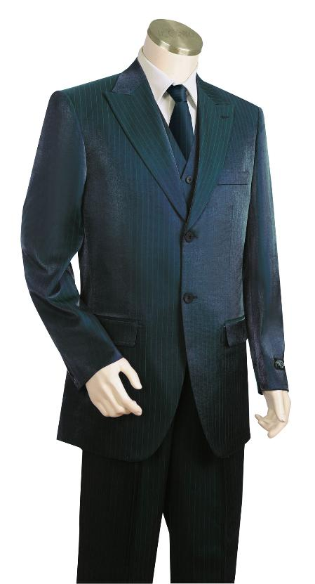 SKU#TG7156 Mens High Fashion 3 Piece Vested Navy Zoot Suit