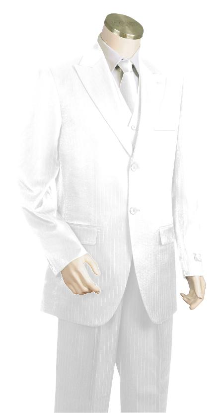 SKU#GJ7835 Mens Stylish 3 Piece Vested White Zoot Suit $175