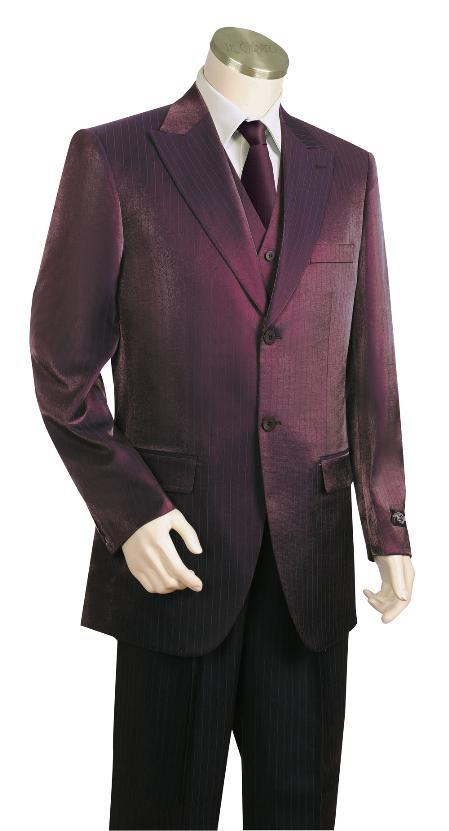 SKU#RT6720 Men's Fashionable 3 Piece Vested Wine Zoot Suit