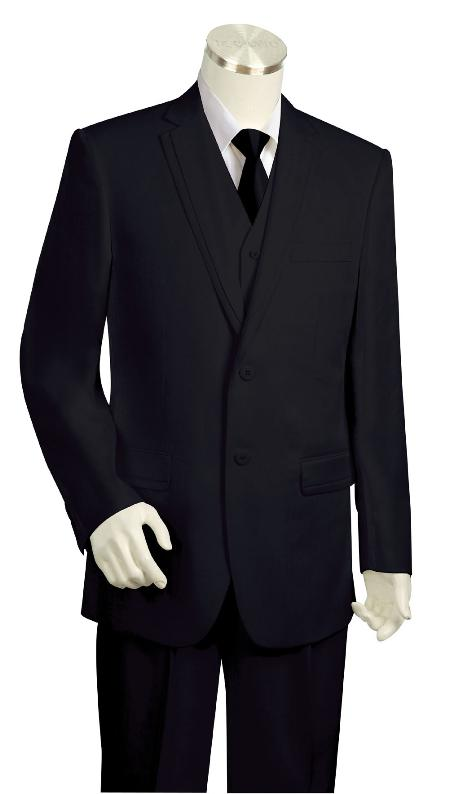 SKU#KR7845 Mens Luxurious Solid Black Zoot Suit $225