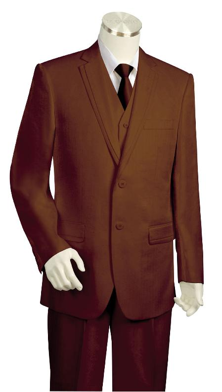 SKU#YH4565 Mens 3 Piece Vested Brown Zoot Suit $225