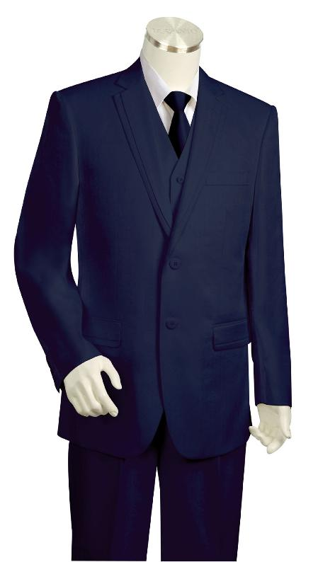SKU#HY2390 Mens Fashionable 3 Piece Vested Navy Zoot Suit $175