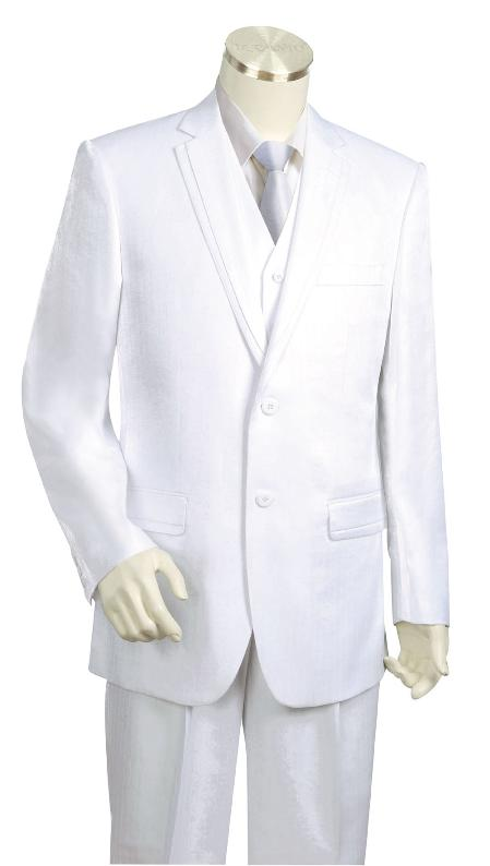 SKU#UH5520 Mens High Fashion 3 Piece Vested White Zoot Suit $225