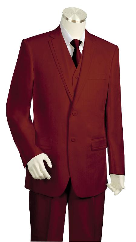 SKU#KR8739 Mens High Fashion 3 Piece Vested Wine Zoot Suit $225