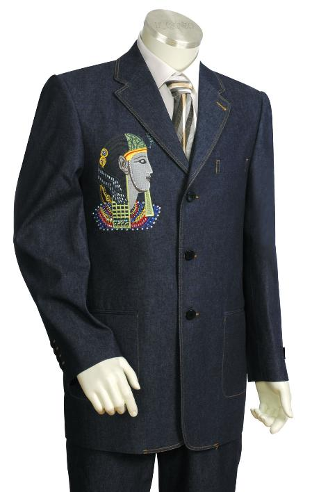 SKU#UH8729 Mens Fashionable 3 Button Blue Front Zoot Suit $225