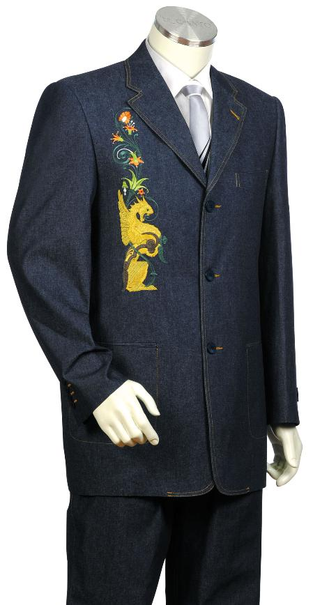 SKU#PK7823 Mens Stylish 3 Button Navy Front Zoot Suit $175