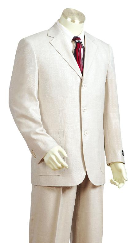 SKU#FT8956 Mens Stylish 3 Button Off White Zoot Suit $175