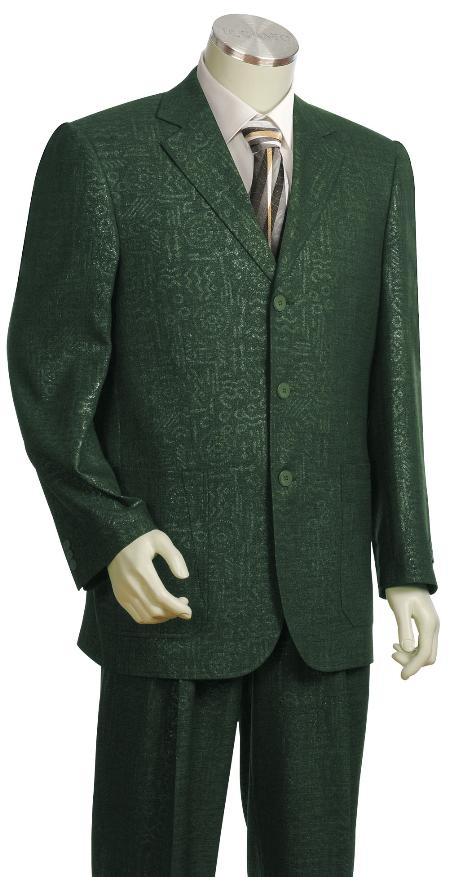 SKU#BG7457 Mens High Fashion 3 Button Olive Zoot Suit $175