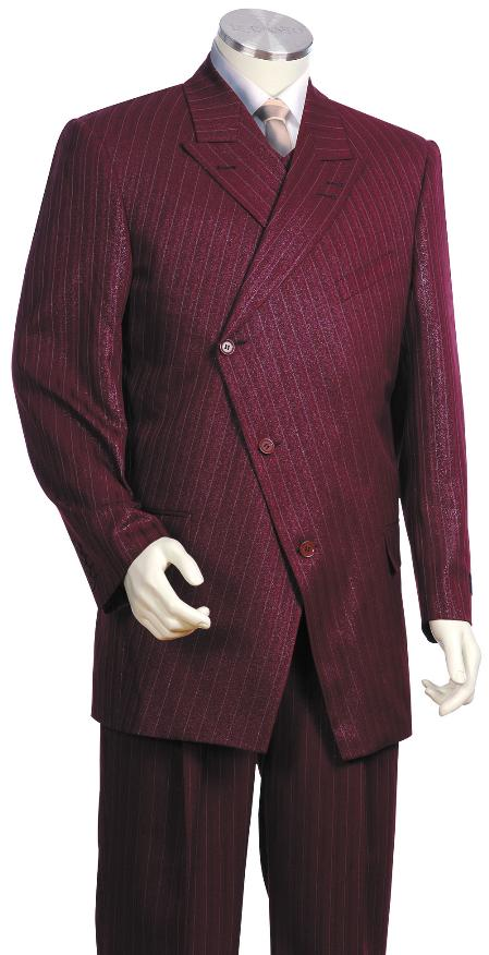 SKU#TJ5420 Mens Fashionable 3 Button Wine Zoot Suit $175
