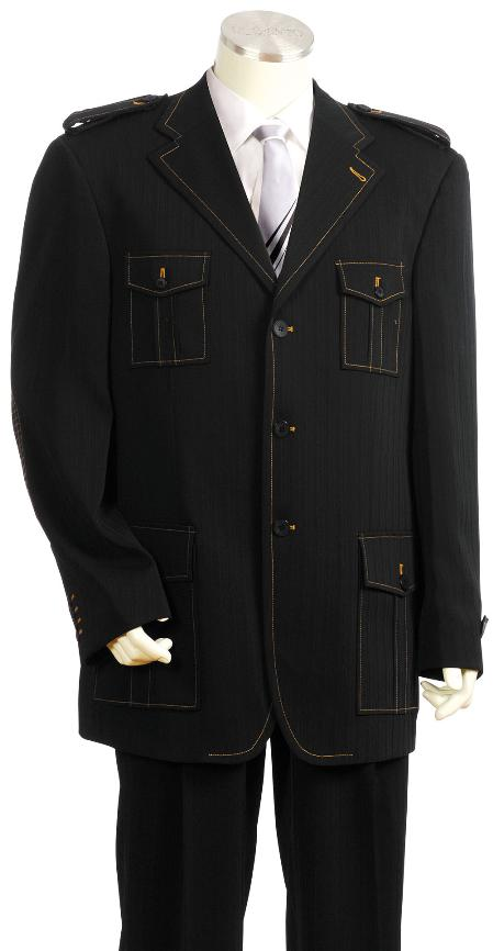 SKU#RD9456 Mens Exclusive 3 Button Black Safari Military Style Zoot Suit $175
