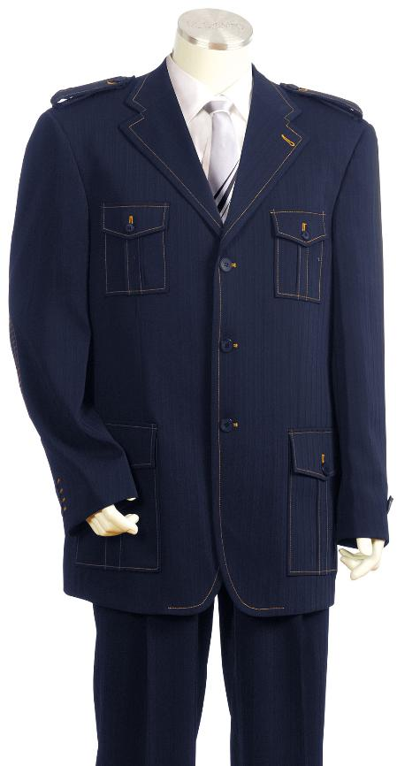 SKU#HT6730 Mens Luxurious 3 Button Navy Safari Military Style Zoot Suit $225