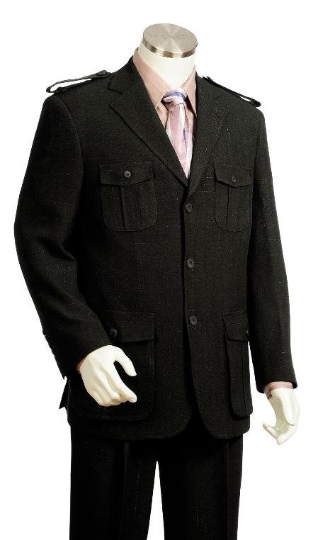 SKU#RG6739 Men's High Fashion 3 Button Black Safari Military Style Zoot Suit