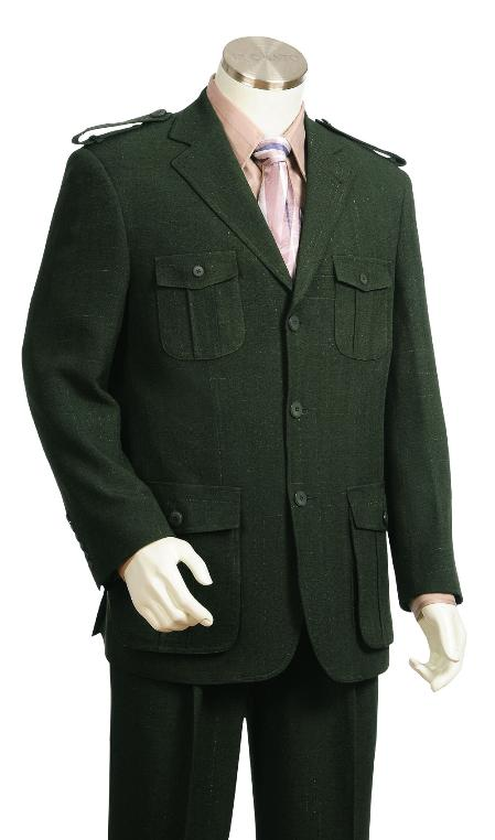 SKU#GT8920 Mens 3 Button Olive High Fashion Safari Military Style  Zoot Suit $175
