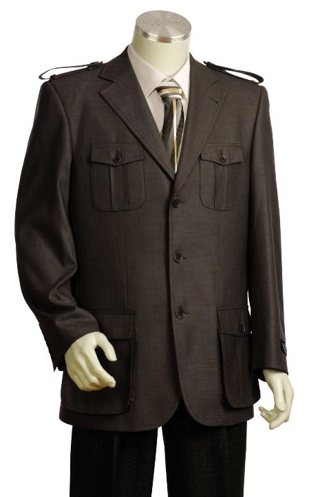 SKU#RF7825 Mens Stylish 3 Button Rust Zoot Suit