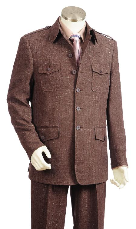 SKU#KR6719 Mens 5 Button Fashion Brown Zoot Suit $175