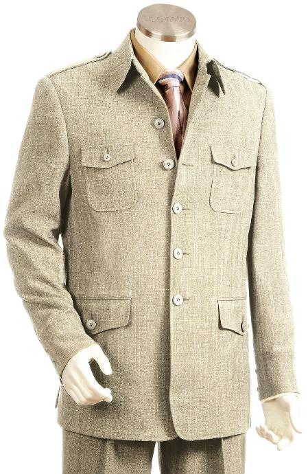 1970s Men's Suits History | Sport Coats & Tuxedos 5 Button Taupe Zoot Suit Mens $175.00 AT vintagedancer.com